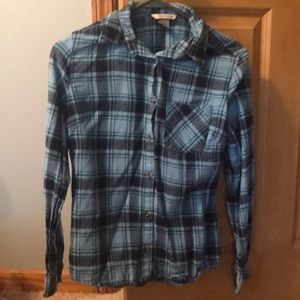 Blue and black kids flannel size small